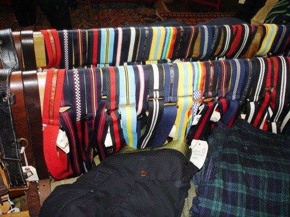 Some of the colorful belts at the shop.