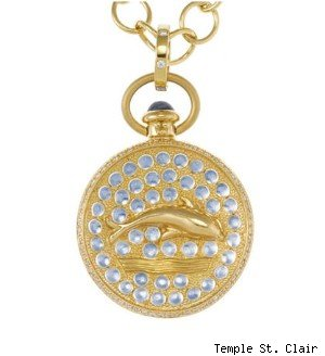 18K DOLPHIN PENDANT WITH BLUE MOONSTONE