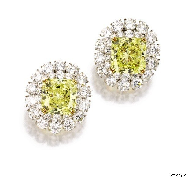 PAIR OF FANCY INTENSE YELLOW DIAMOND AND DIAMOND EARCLIPS