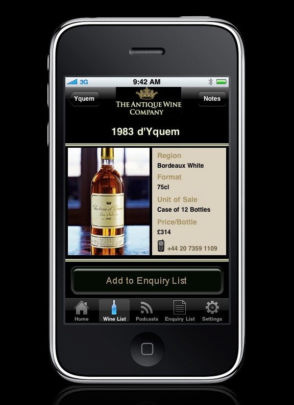Antiques Wine Company iPhone App