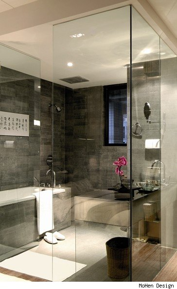 Shangai, China Glass-Enclosed Bathroom