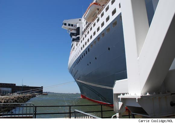 A side view of Cunard's Queen Mary 2 ship while it was docked at the Brooklyn Cruise Terminal on April 29, 2010.