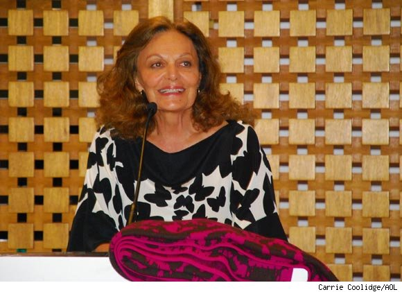 Legendary fashion designer Diane von Furstenberg unveils her exclusive designs for Claridge's, the London hotel.