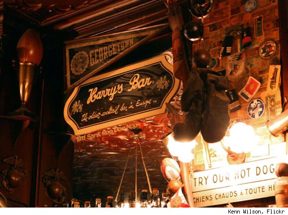 Interior of Harry's Bar in Paris