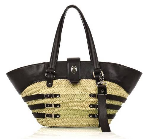 Jimmy Choo Bazli Raffia + Leather Tote