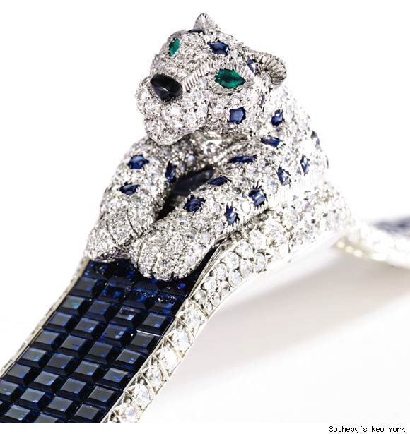 SAPPHIRE AND DIAMOND 'PANTHERE' WRISTWATCH BY CARTIER