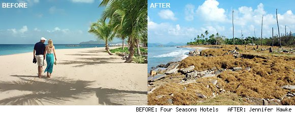 Before and after images of Four Seasons Nevis. The image on the right was taken shortly after Hurricane Omar hit the island of Nevis in 2008.