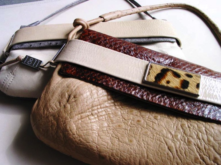 Ostrich and fish skin bag
