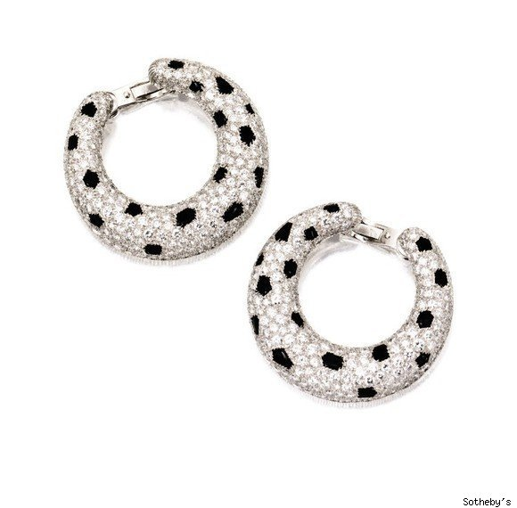 PAIR OF DIAMOND AND ONYX 'PANTHERE' EARCLIPS, CARTIER