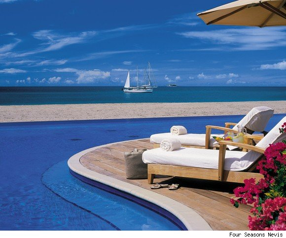A view of the swimming pool at the Four Seasons Nevis