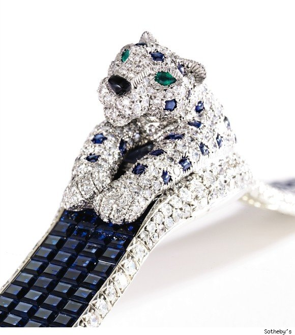 Patricia Kluge's Diamond and Sapphire Watch by Cartier that was sold by Sotheby's