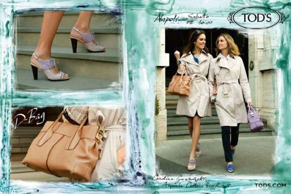 Amanda (right) with Carolina Gawronski in a TOD'S Spring 2010 Ad Campaign