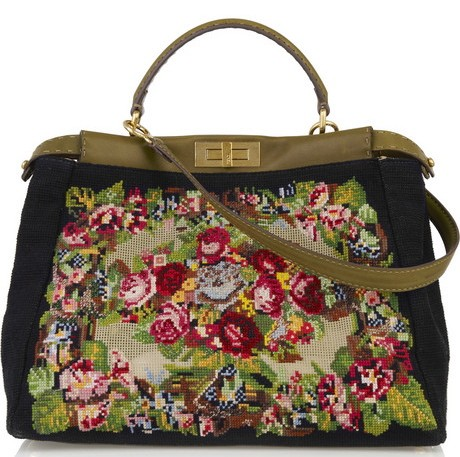 Fendi Peekaboo Embroidered Tote