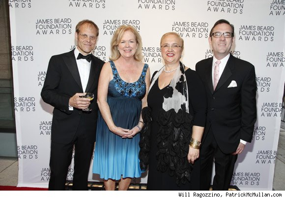 Food Network's Alton Brown, who hosted the awards; James Beard Foundation President Susan Ungaro; host Lidia Bastianich; Ted All