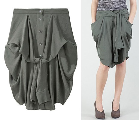 alexander wang front tie shirt skirt