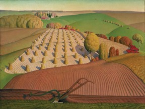 fall plowing by grant wood