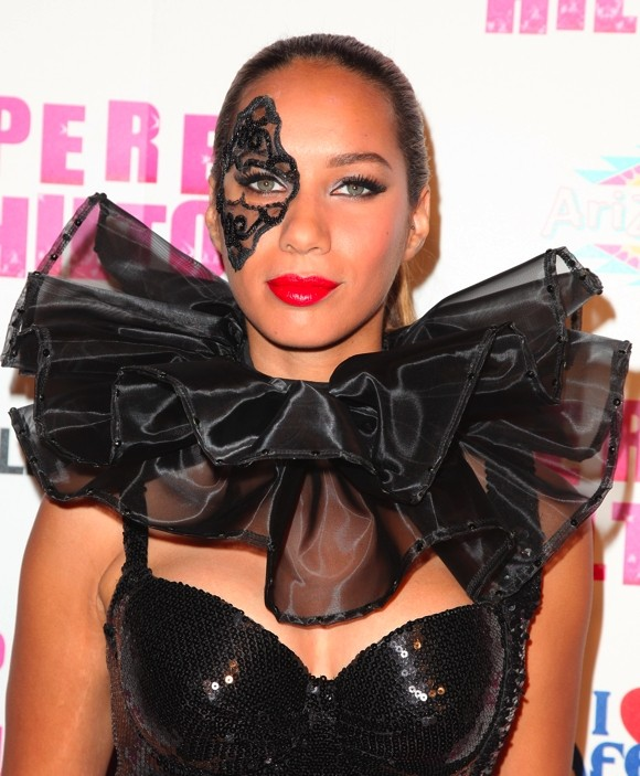 Singer Leona Lewis sported an eye patch at Perez Hilton's birthday bash.