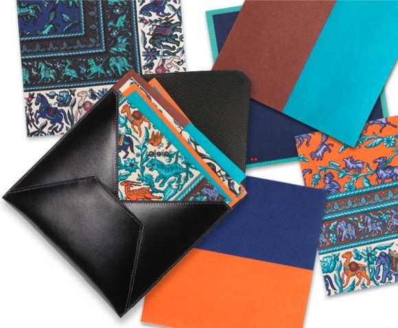 hermes leather and scarf print set