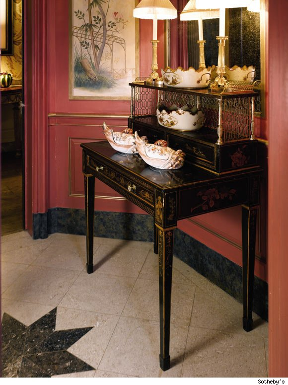 The Powder Room: A Fine and Rare George III Polychrome-Japanned and Mahogany Domed Tester Bedstead