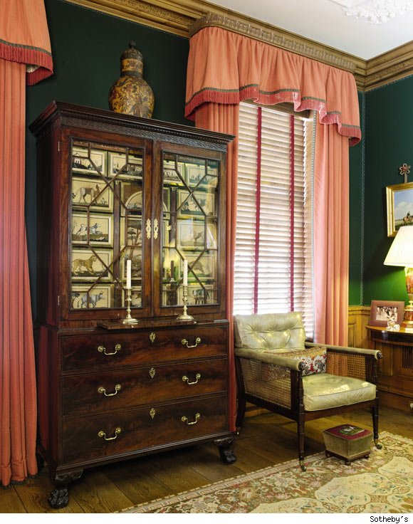 George II Brass-Mounted Florentine Dure and Pietra Albarase Panel-Mounted Mahogany and Walnut Collector's Cabi