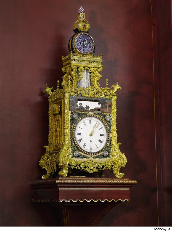 Magnificent Imperial Tribute Gilt-Brass, Enamel and Paste-Set Quarter Striking Automaton Table Clock