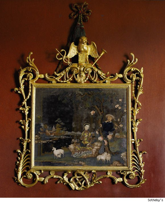 An Important George III Giltwood Frame with Chinese Export Reverse-Painted Mirror Painting.