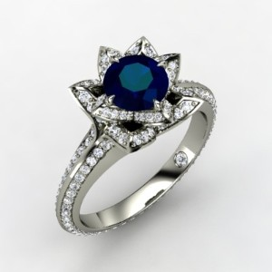 Lotus Ring (in white gold with diamonds and a blue sapphire)
