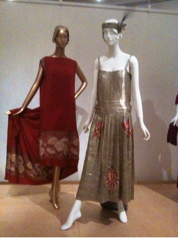 J.Suzanne Talbot Evening Dress with Attached Shawl, 1925 and Metallic Evening Dress by Jeanne Lanvin, 1923