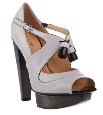 pollini leather peep toe sandals