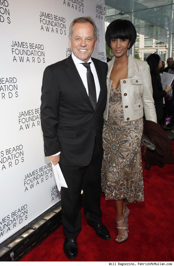Awards presenter Wolfgang Puck with Gelila Assefa