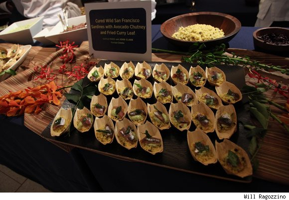 San Francisco's Foreign Cinema restaurant served gala attendees cured sardines with avocado chutney and fried curry leaf.
