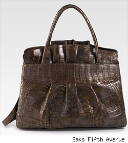 Nancy Gonzalez Crocodile Ruffled Tote