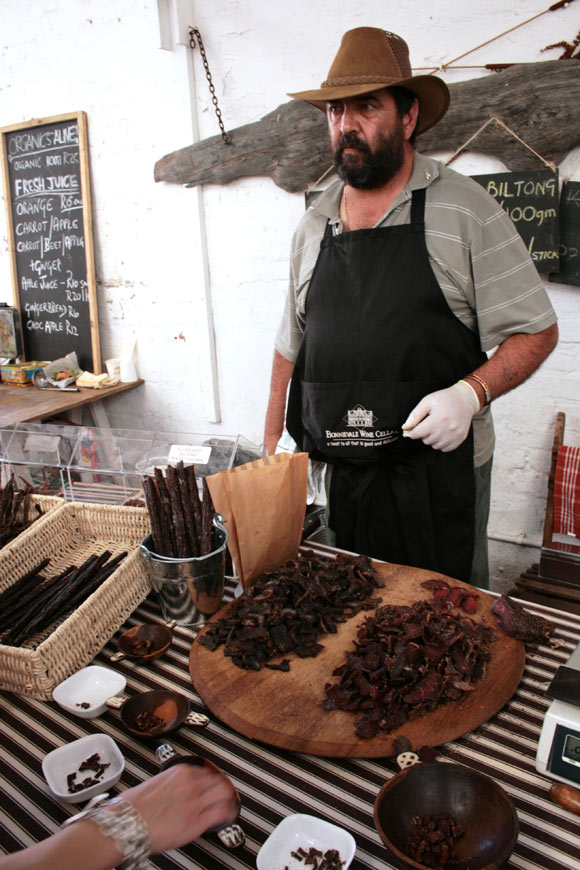 Biltong salesmen at the Biscuit Mill.