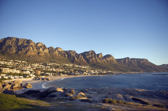 Camps Bay Beach and the 12 Apostles mountain range.