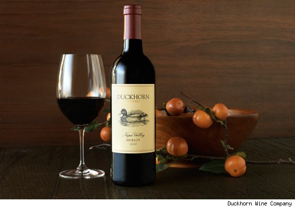 A bottle of Duckhorn's Merlot