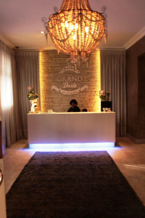 The reception desk at Grand Daddy Hotel.