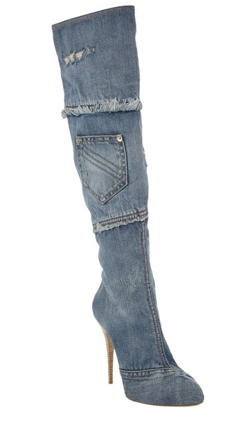 Gianmarco Lorenzi Denim Thigh Boots