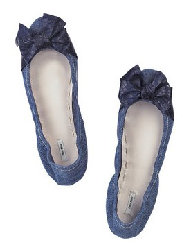 Miu Miu Denim Ballerina Flats