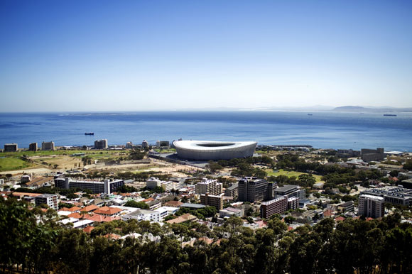 Overview of Cape Town and Green Point Stadium where the World Cup will be played.