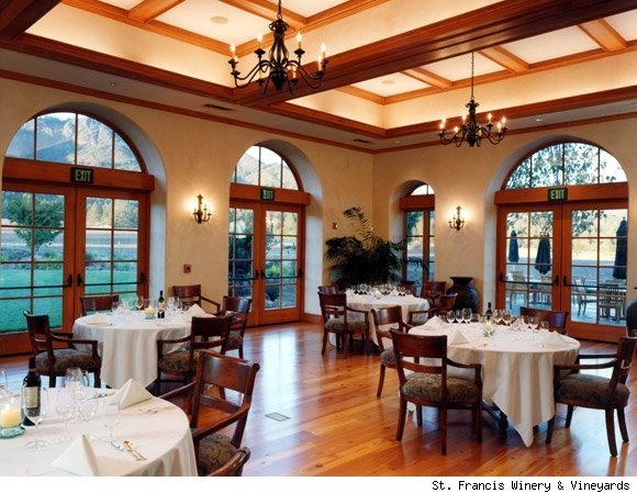 The dining room at St. Francis Winery & Vineyards