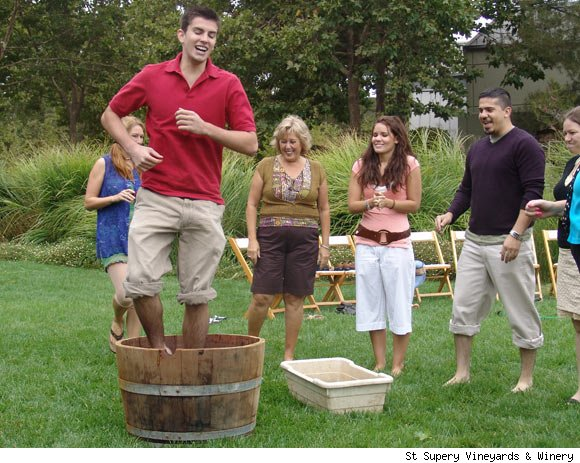 A grape stomp at St. Supery