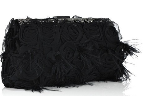 Valentino Glam Rose and Feather Clutch