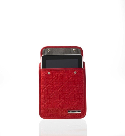 Red case with iPad inside