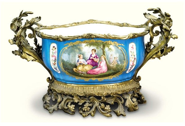 An ormolu-mounted Sevres style jardini�re, late 19th century, Est. �2,000-3,000