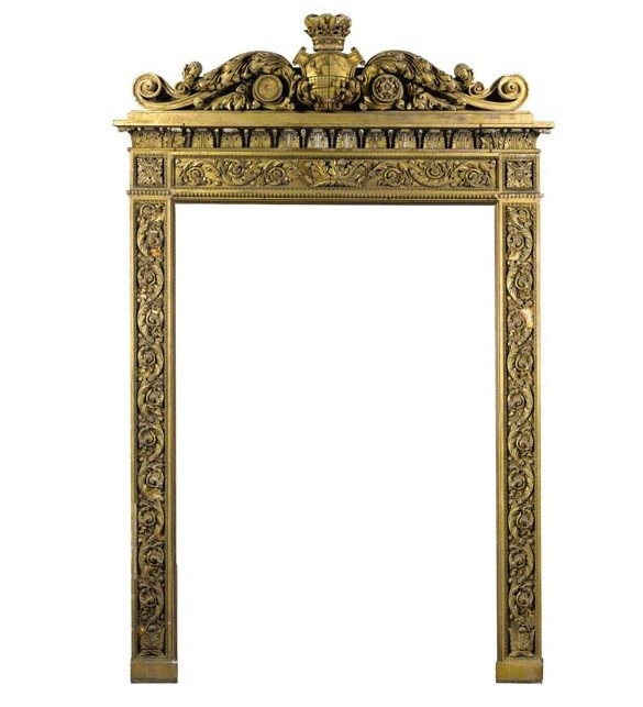 A regency carved giltwood and gesso overmantel frame, circa 1810, bearing the Devonshire coat of arms and Ducal coronet, est. 