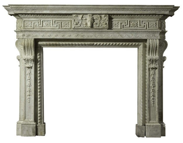 A magnificent George II carved white marble chimneypiece by William Kent, circa 1735, from the Saloon, est. £200,000-300,000
