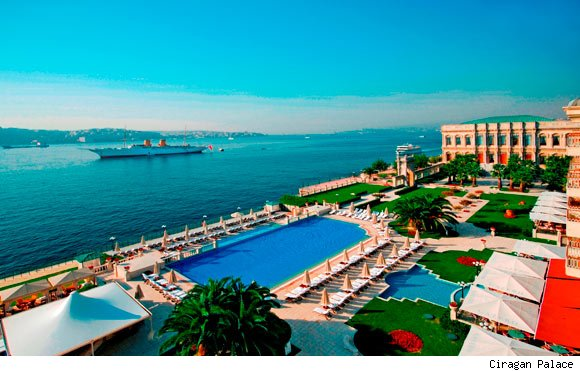 The view of the Bosphoros from the Ciragan Palace in Istanbul, Turkey