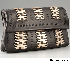 Elie Tahari Amber Feather-Light Leather Clutch