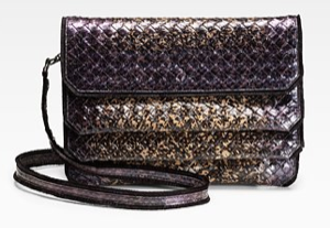 Bottega Veneta Snakeskin Three-Flap Clutch