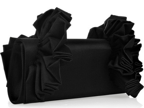 Christian Louboutin Amaya Ruffled Satin Clutch
